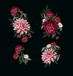 bouquets with dahlia peonies and wild flowers vector image