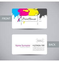 business card for print house with cmyk ink vector image