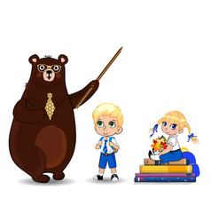 cartoon bear teacher in glasses holding pounter vector image