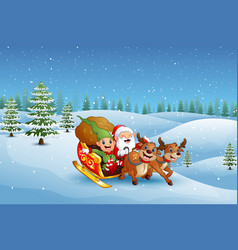 cartoon santa claus with elf riding on a sleigh wi vector image