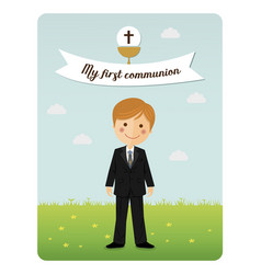 child costume in her first communion dress vector image