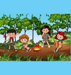 children camping in forest vector image