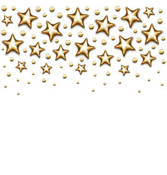 Christmas gold stars and beads on white background vector
