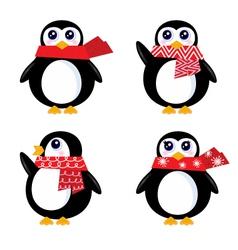 christmas retro penguin vector image