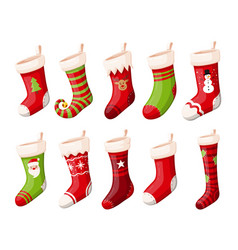 Christmas stockings or socks isolated set vector