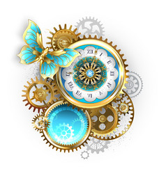 Clock and gear with butterfly vector
