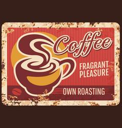 coffeehouse roasting company rusty metal plate vector image