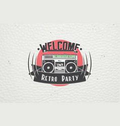 Color sticker retro party disco music event vector