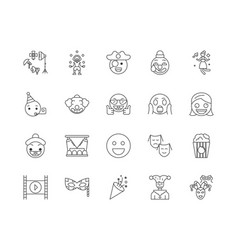 comedian line icons signs set outline vector image
