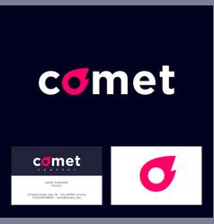 comet logo letter o like red vector image