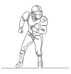 Continuous line drawing american football player vector