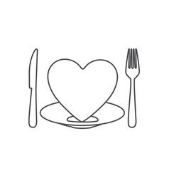 Contour of healthy heart food with dish and knife vector