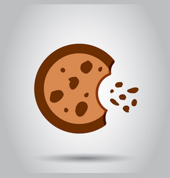 Cookie flat icon chip biscuit dessert food vector