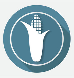 Corn icon on white circle with a long shadow vector