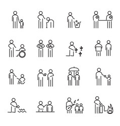 Corporate social responsibility people thin line vector