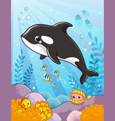 Cute killer whale in cartoon style aquatic art vector
