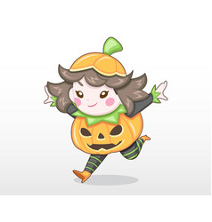 cute style girl in pumpkin costume vector image