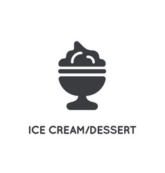 dessert ice cream dish or cup element or glyph vector image