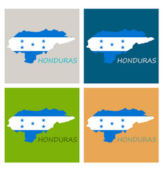 Detailed of a map of honduras with flag eps10 vector