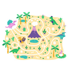 dinosaurs kids maze dino mom find eggs childrens vector image
