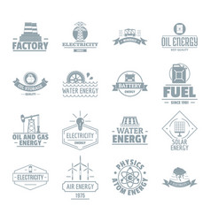 Energy sources logo icons set simple style vector