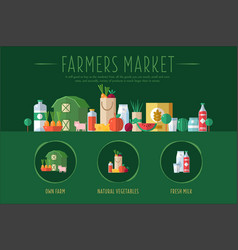 Farmers market banner with fresh farm goods and vector