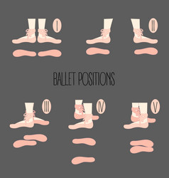 Five ballet position of legs with vector