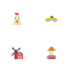 Flat icons landscape rooster pickup vector