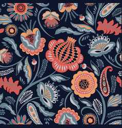 Folk floral seamless pattern modern abstract vector