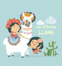 funny llama alpaka with cute mexican girls vector image
