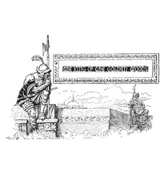 Guard sitting looking over ledge pictorial banner vector
