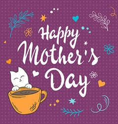 hand drawn mothers day lettering with white kitty vector image