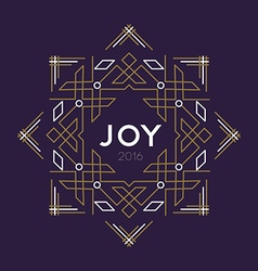 Happy new year 2016 frame art deco joy card line vector