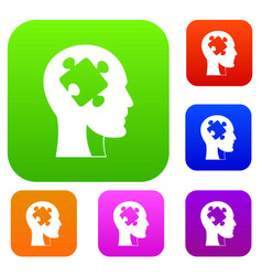 head with puzzle set color collection vector image