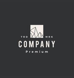 ice rock peak mount hipster vintage logo icon vector image