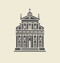 Icon or stencil a stylized old building facade vector