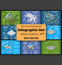 isometric set infographics concept blocks vector image