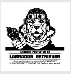 Labrador retriever dog with gun - labrador vector