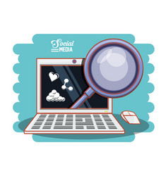 laptop computer with magnifying glass and social vector image