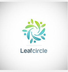 leaf circle organic logo vector image
