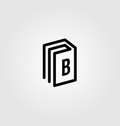 line art book logo icon letter b design vector image