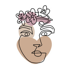 Line woman face portrait with spring flowers vector