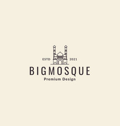 Lines hipster mosque logo symbol icon graphic vector