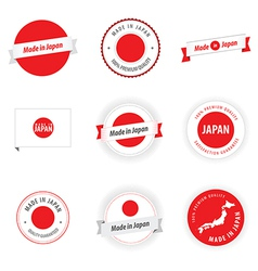 Made in Japan labels badges and stickers vector