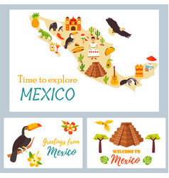Map mexico with destinations animals landmarks vector
