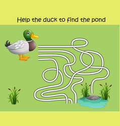 maze game help the duck to find the pond vector image