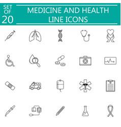 medicine and health line icon set medical symbols vector image