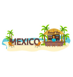 mexico travel palm drink summer lounge chair vector image