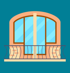 Modern residential window with balcony vector
