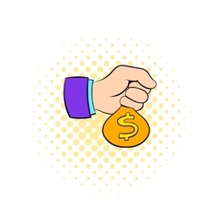 Money in hand icon comics style vector image vector image